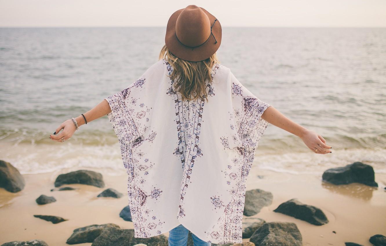 Photo wallpaper sea, girl, pose, the ocean, hat