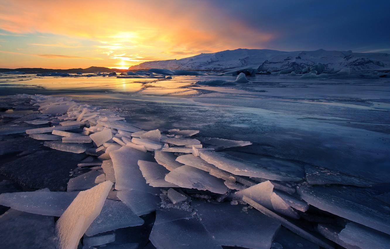 Photo wallpaper Winter, Landscapes, Iceland, Ice, Glacier, Sunsets, Freeze
