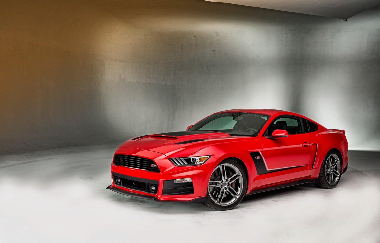 Photo wallpaper Mustang, Ford, Mustang, Red, Ford, krsno, Roush, 2015, Stage 3
