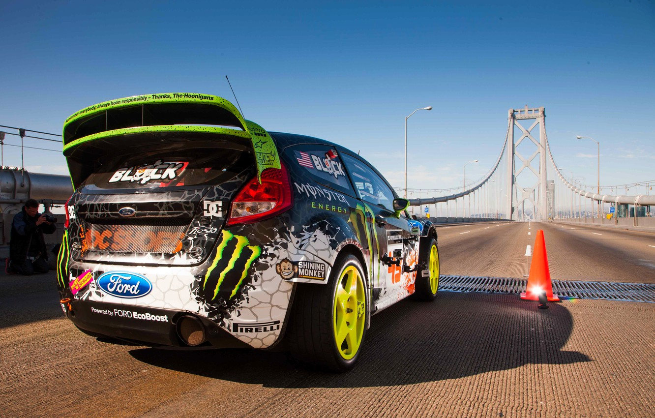Photo wallpaper Ford, The sky, Auto, Bridge, Machine, Ford, Day, Ken Block, Rally, Fiesta, Fiesta, Start