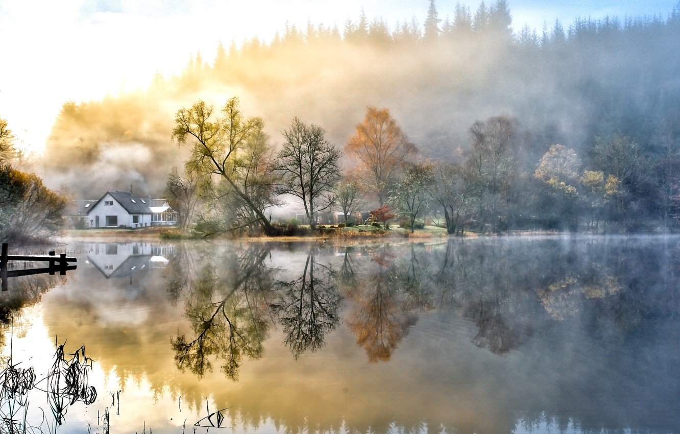 Photo wallpaper autumn, the sky, water, clouds, trees, landscape, nature, lake, houses