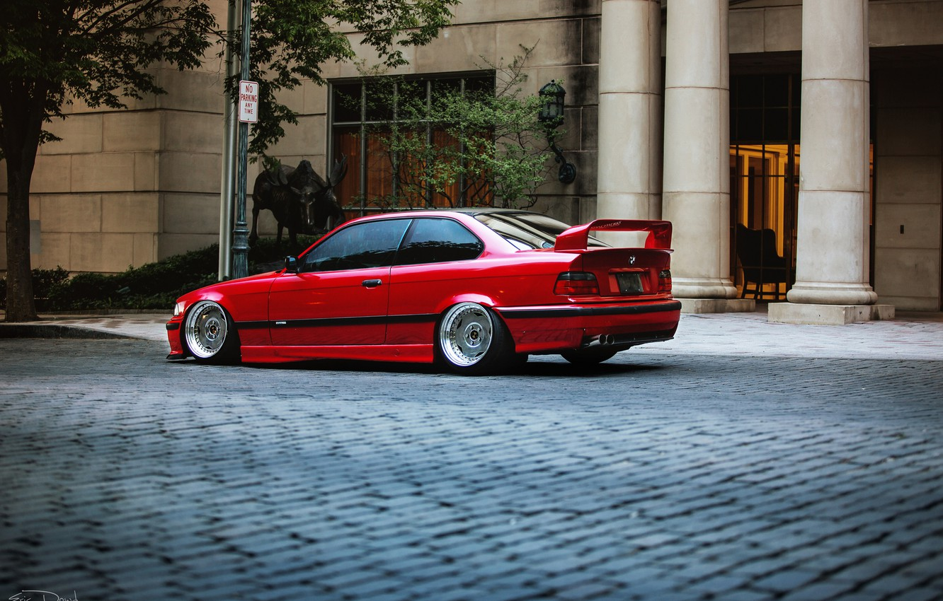 Photo wallpaper tuning, BMW, BMW, red, red, tuning, E36