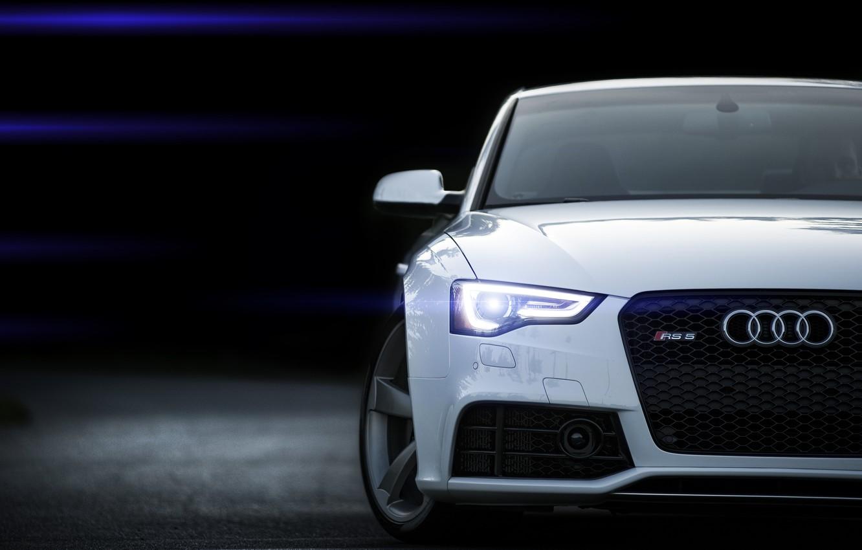 Photo wallpaper Audi, Audi, white, white, Blik, RS5, front
