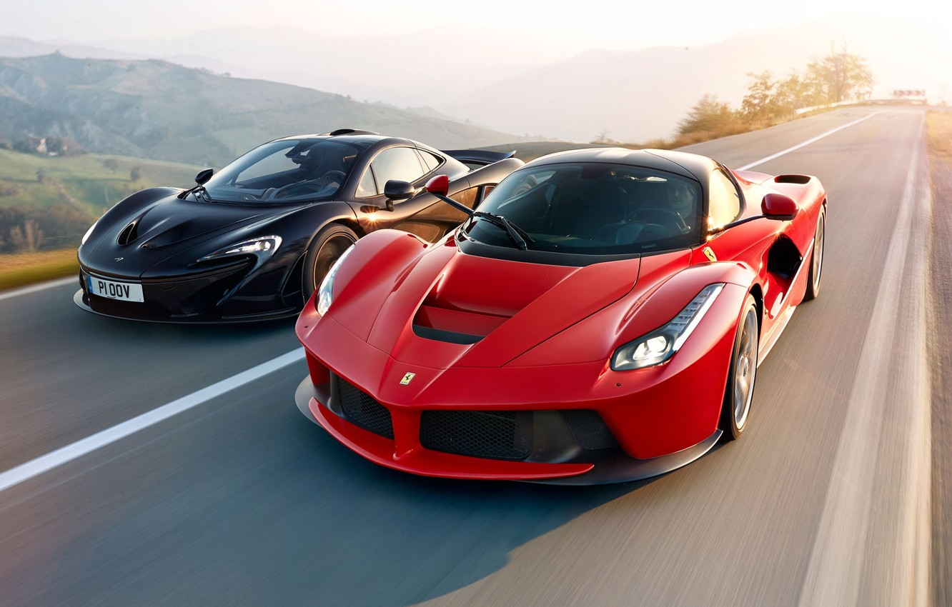 Photo wallpaper McLaren, Ferrari, Red, Power, Speed, Front, Black, Sun, Supercars, Road, LaFerrari, Lead