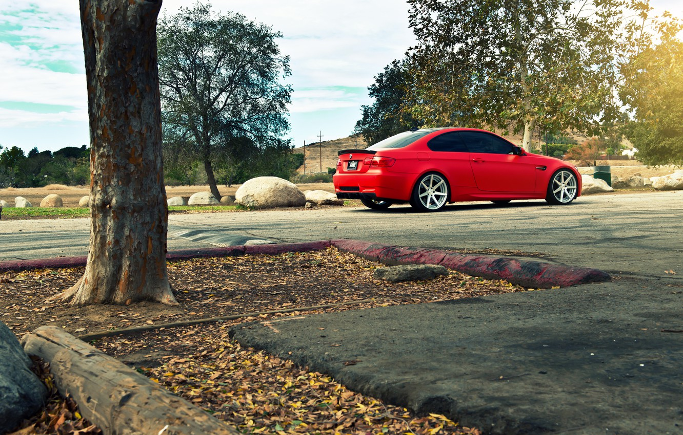 Photo wallpaper BMW, BMW, red, e92, The 3 series