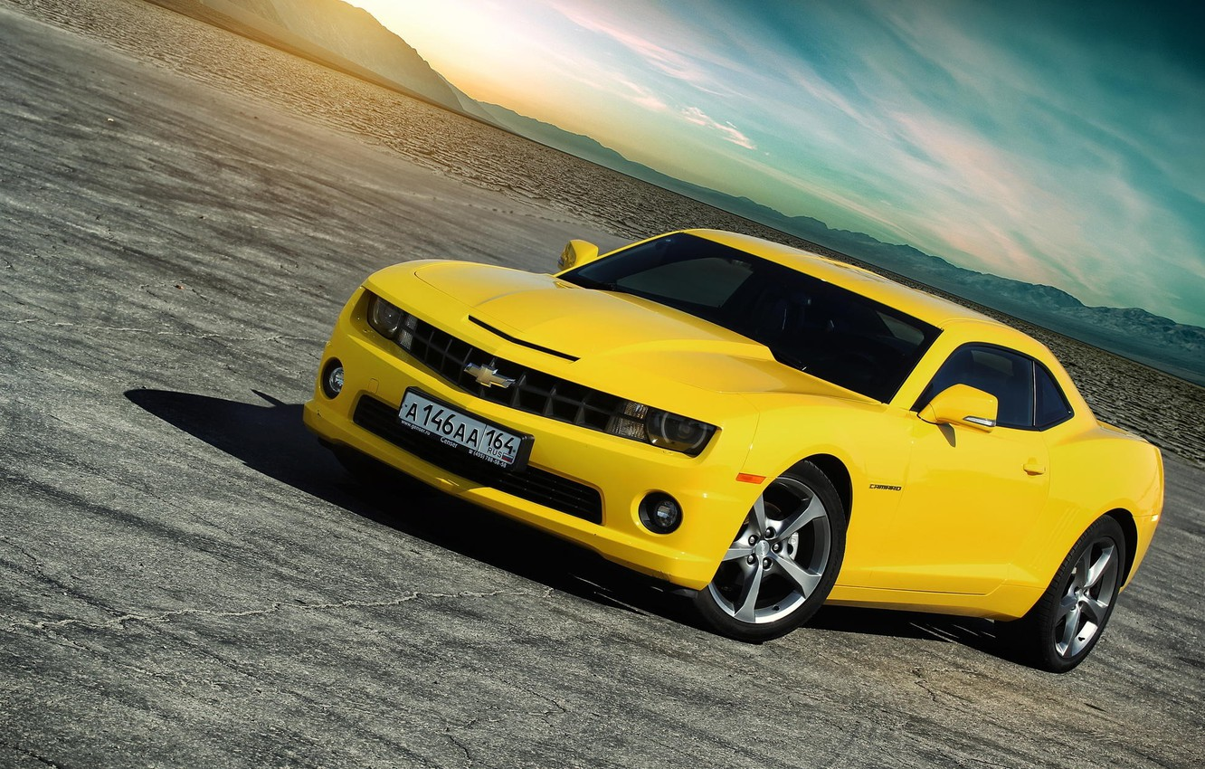 Photo wallpaper Chevrolet, Muscle, Light, Camaro, Car, Sky, Sun, Yellow, Didert