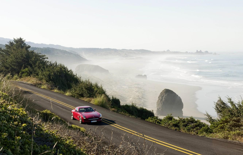 Photo wallpaper road, sea, trees, machine, Mercedes, road, mercedes sls