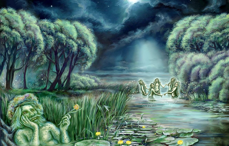 Photo wallpaper water, clouds, night, Wallpaper, the moon, figure, stars, art, water, painting, mermaid, water lilies