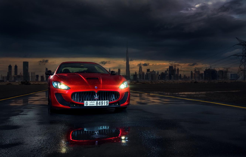 Photo wallpaper Maserati, Red, Car, Dubai, Front, Sport, Granturismo, Italian, Ligth, Mc Road, Darkside