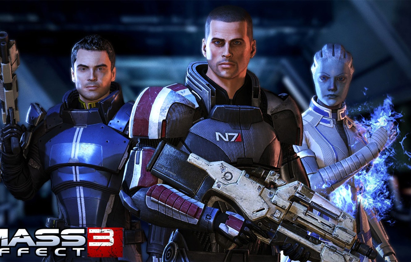 Photo wallpaper Shepard, Cayden, Liara, Mass effect 3