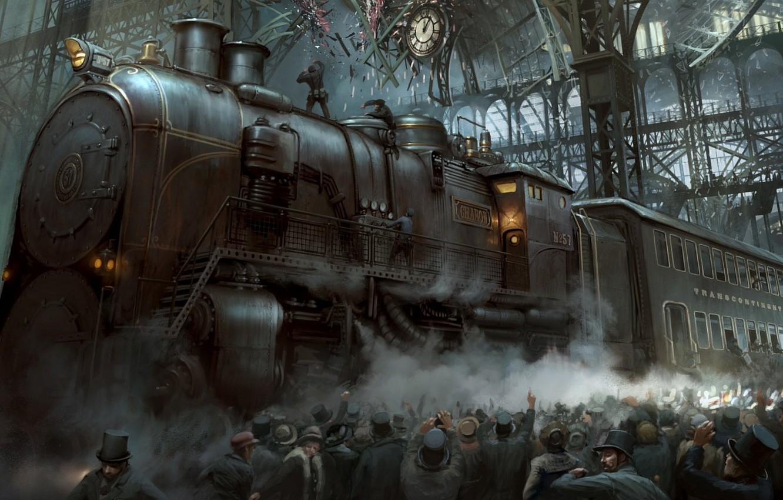 Photo wallpaper the crowd, station, train, the crash, steam