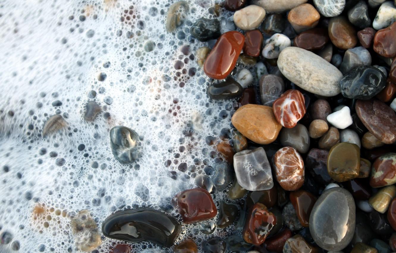 Photo wallpaper Water, Stones, Foam, Water, Stones, Foam