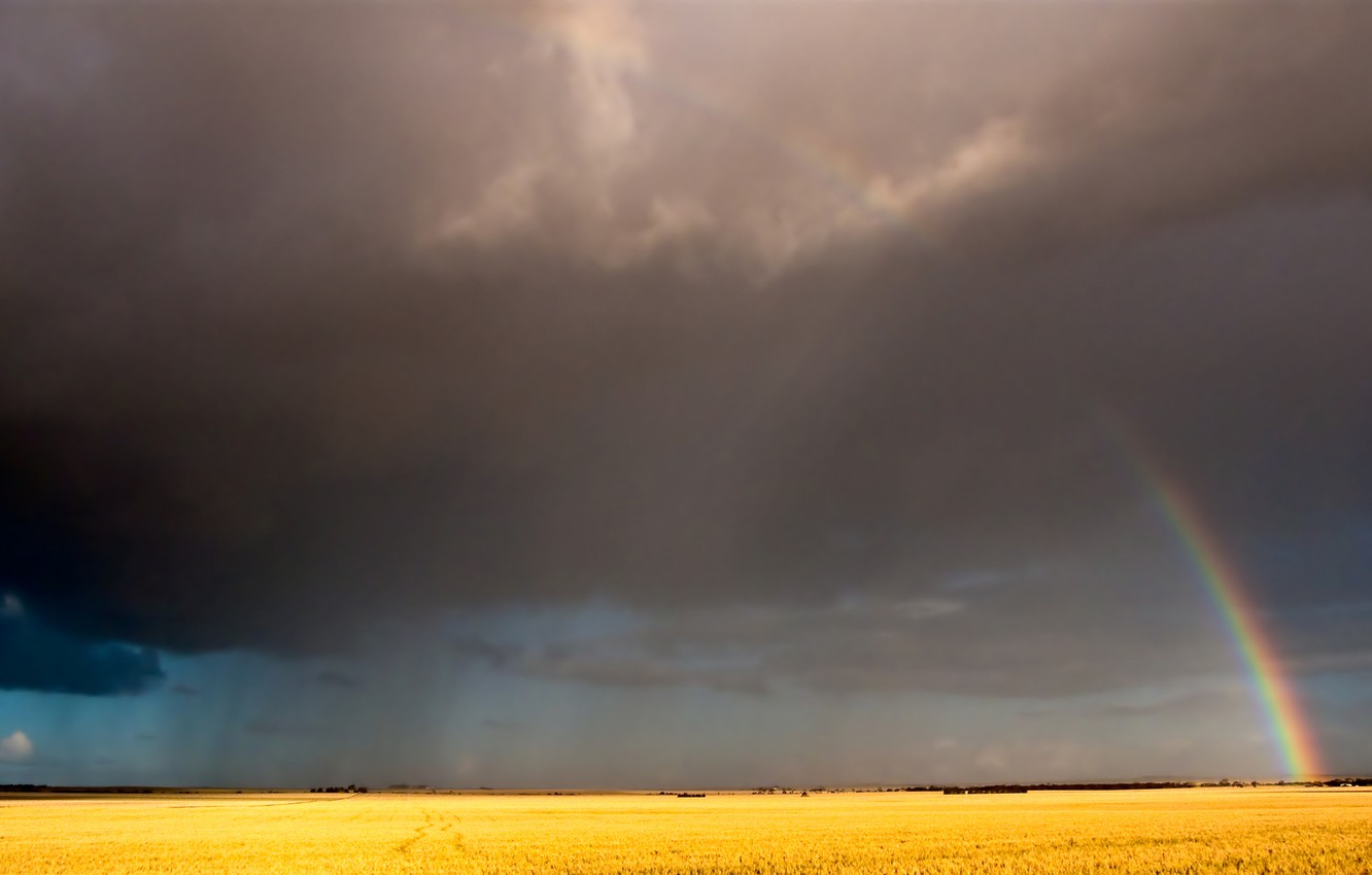 Photo wallpaper field, the sky, clouds, rainbow