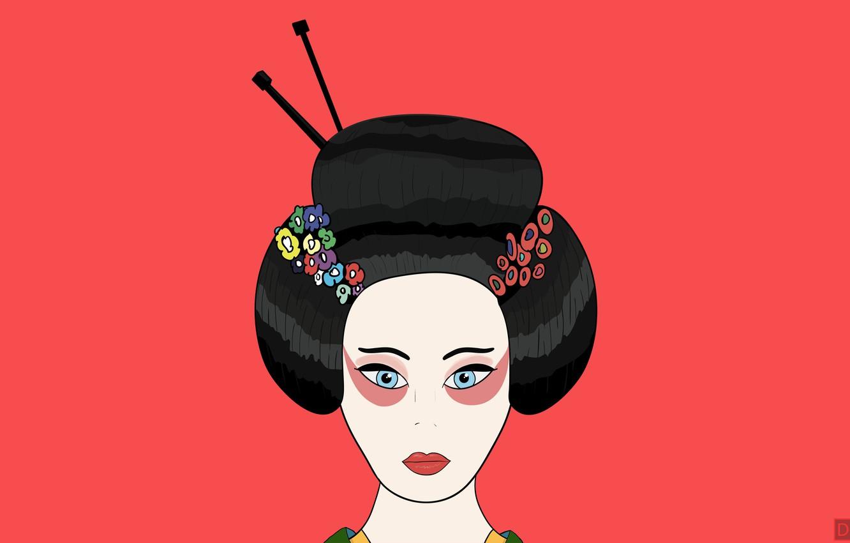 Photo wallpaper flowers, red, hair, figure, minimalism, Japan, geisha, lips, kimono