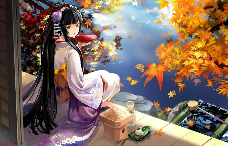 Photo wallpaper autumn, girl, lake, geisha