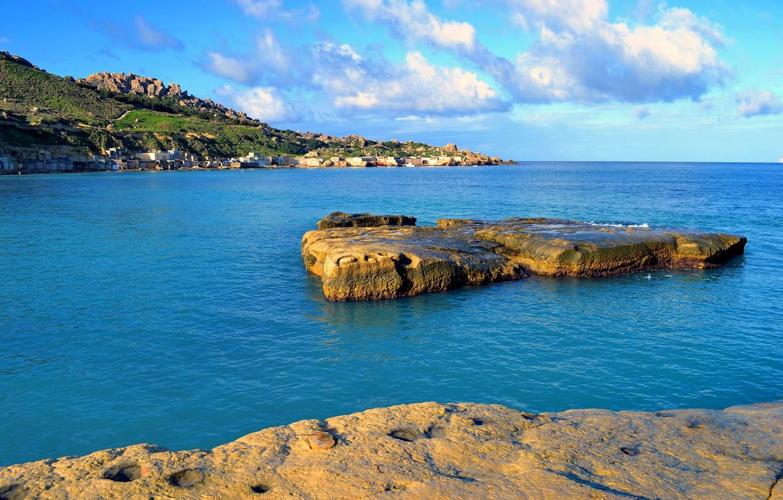 Photo wallpaper sea, the sky, rocks, Bay, Malta, Gnejna Bay