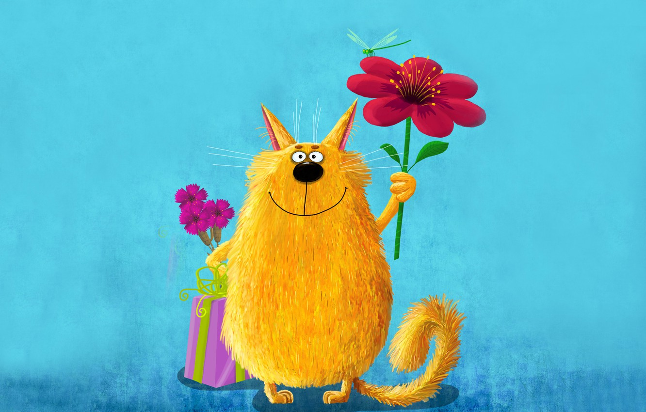 Photo wallpaper flower, cat, yellow, pink, paint, picture, dragonfly, large, art, cute, painting, cat, keeps, funny, painting, …