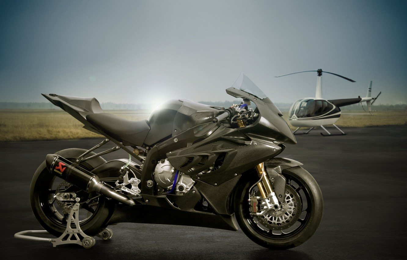 Photo wallpaper BMW, motorcycle, helicopter, Superbike, sportbike, bmw s1000rr