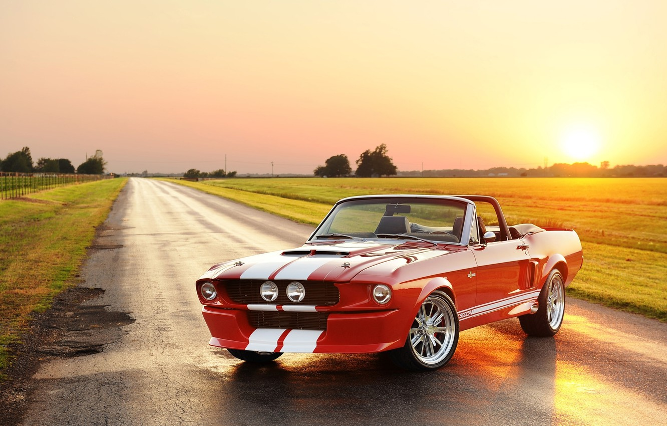 Photo wallpaper road, the sky, the sun, red, strip, tuning, Mustang, Ford, Shelby, Convertible, Ford, Mustang, tuning, …