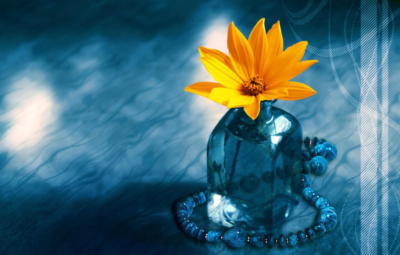 Photo wallpaper flower, blue, beads, vase