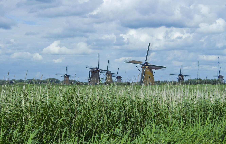 Photo wallpaper the sky, grass, clouds, nature, mill, reed, mill, Holland, mill, holland, kinderdijk, mills, kinderdijk
