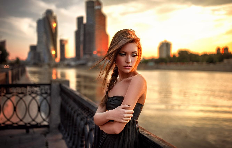Photo wallpaper Girl, City, Beautiful, Model, Sun, Female, Beauty, Moscow, Eyes, Summer, Portrait, Popular, Lonely