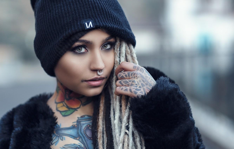 Photo wallpaper look, girl, face, style, model, makeup, piercing, tattoo, dreadlocks, cap