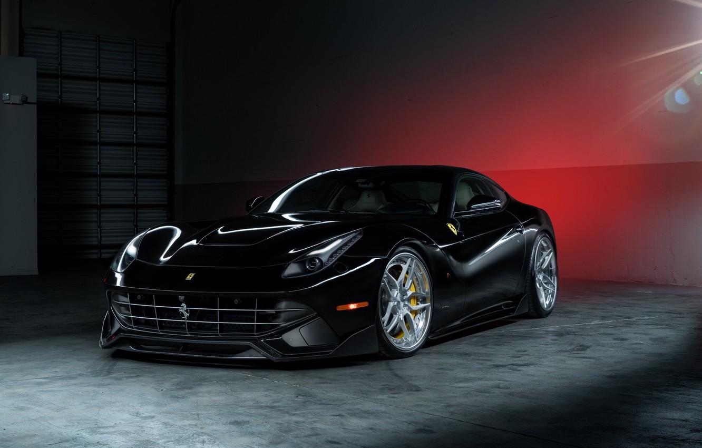 Photo wallpaper Ferrari, Power, Front, Black, Supercar, Berlinetta, F12, Wheels, ADV.1, Ligth