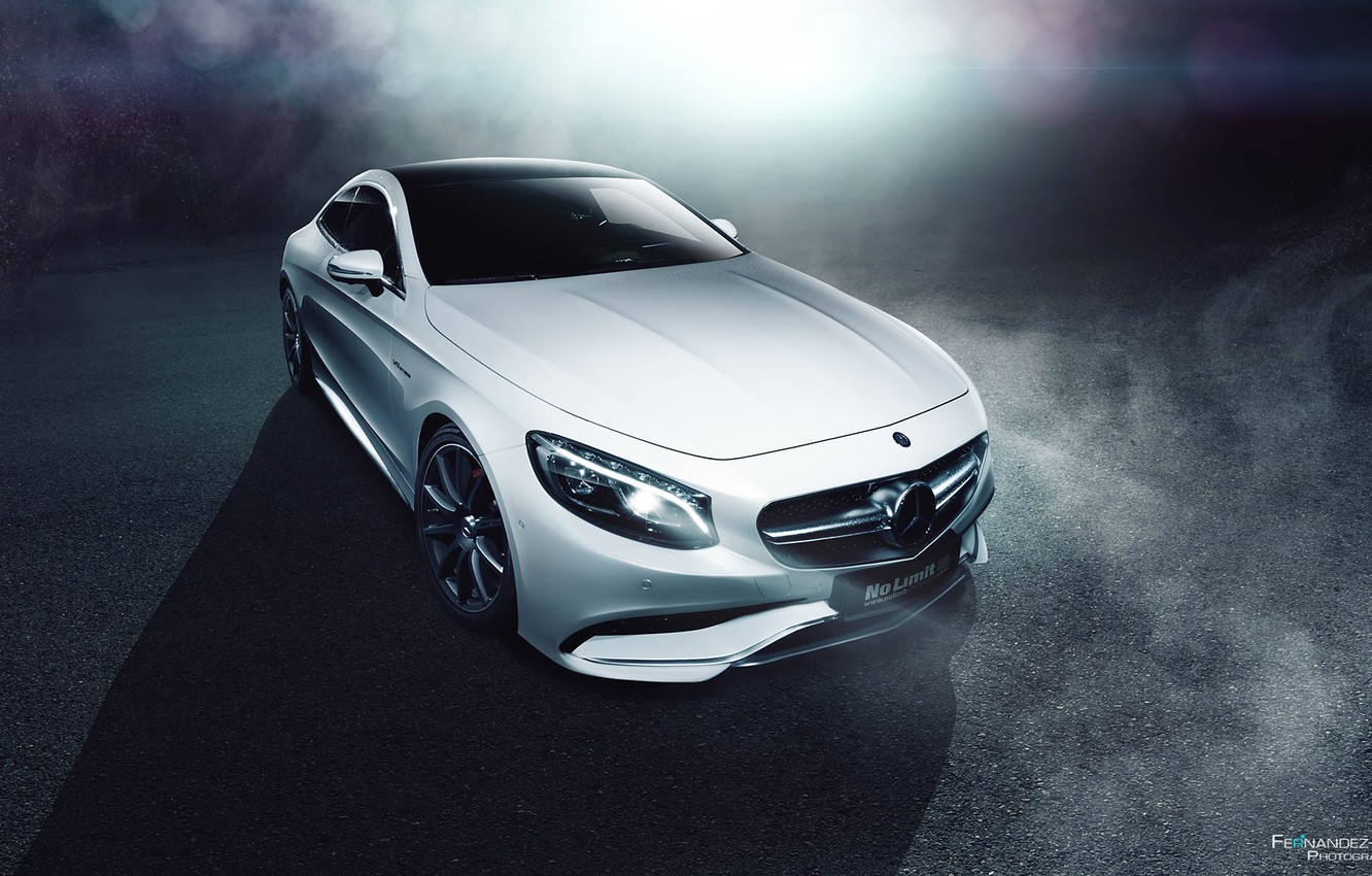 Photo wallpaper Mercedes-Benz, Car, Front, AMG, Coupe, White, S63, Ligth