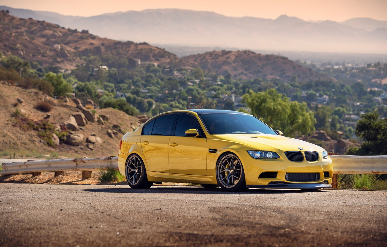 Photo wallpaper hills, BMW, BMW, horizon, the fence, yellow, yellow, front, E90, bump
