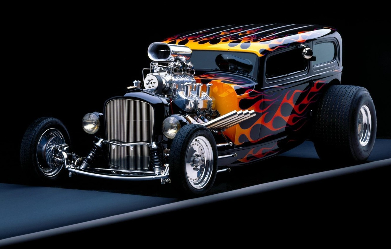 Photo wallpaper background, flame, tuning, Hot Rod, the front, Hot Rod