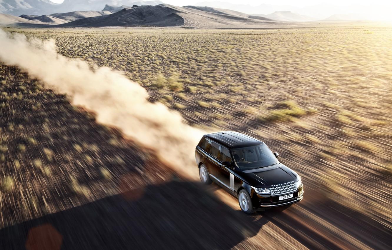 Photo wallpaper sand, desert, speed, Land Rover, Range Rover, Land Rover, Range Rover