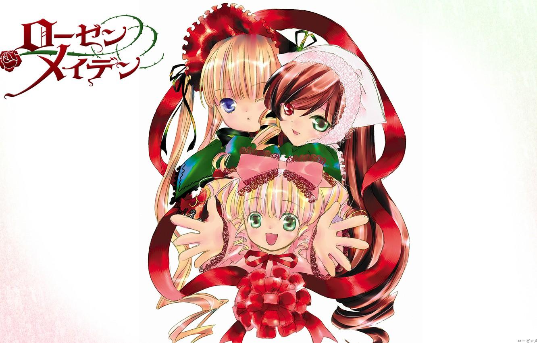 Photo wallpaper smile, white background, bow, cap, rozen maiden, three, different eyes, shinku, Kapor, hinaichigo, suiseiseki