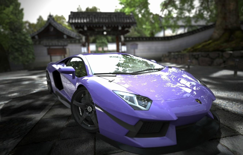 Photo wallpaper purple, lamborghini, Lamborghini, aventador, purple, aventador
