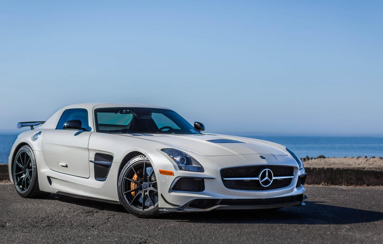 Photo wallpaper white, Mercedes-Benz, supercar, supercar, 2014 Mercedes-Benz SLS AMG Black Series