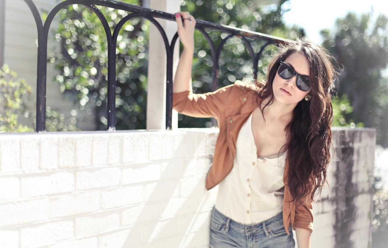 Photo wallpaper summer, girl, brunette, glasses