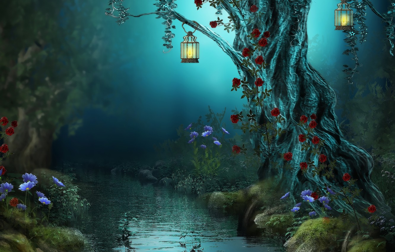 Photo wallpaper forest, flowers, night, nature, river, stream, lamp, roses, lights, Fantasy, forest, river, nature, night, flowers, …
