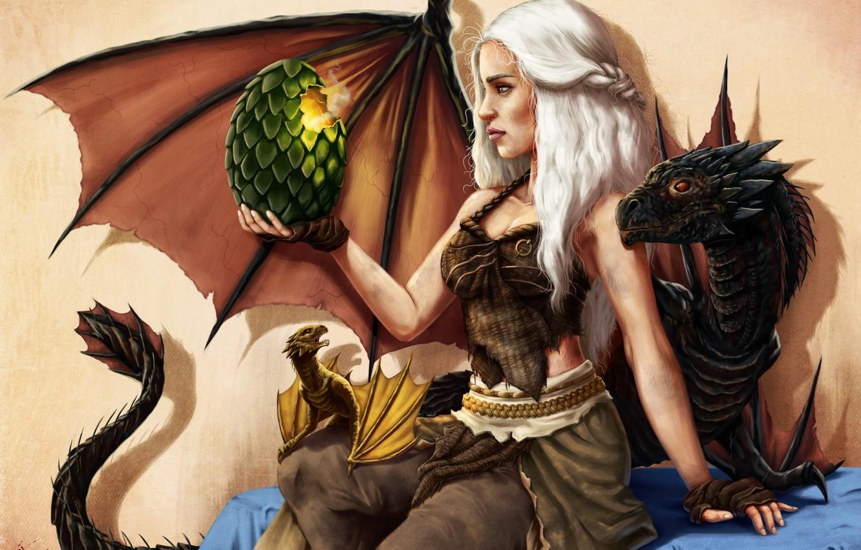 Photo wallpaper girl, egg, dragons, art, Game of Thrones, Daenerys Targaryen