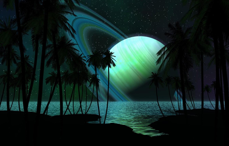 Photo wallpaper sea, stars, trees, shore, planet, ring