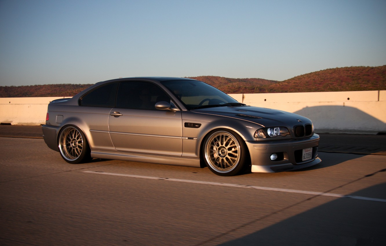 Photo wallpaper road, markup, the slopes, bmw, BMW, the fence, side view, road, speed, headlights, silvery, e46, …