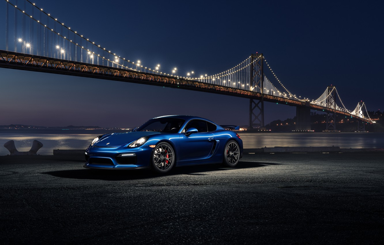 Photo wallpaper 911, Porsche, Car, Blue, Front, Bridge, Night, Sport, GT4