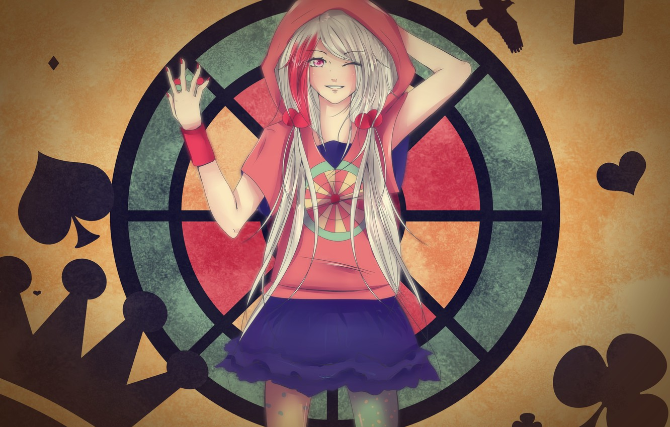 Photo wallpaper girl, balls, smile, background, pattern, art, hood, the suit, wink, tails