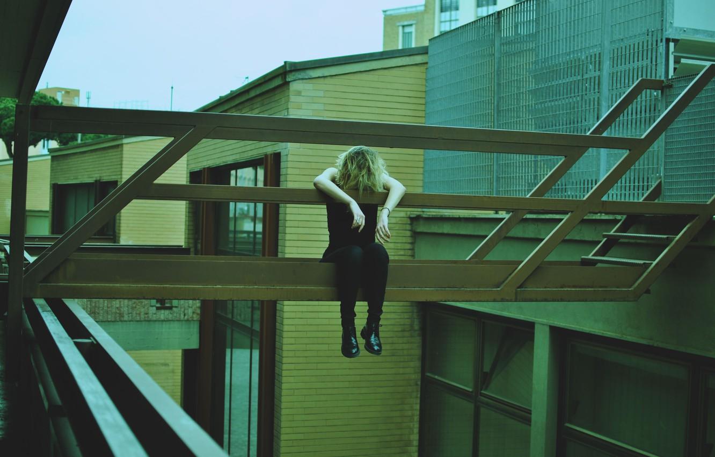 Photo wallpaper girl, melancholy, architecture, lazy, tired, urban scene
