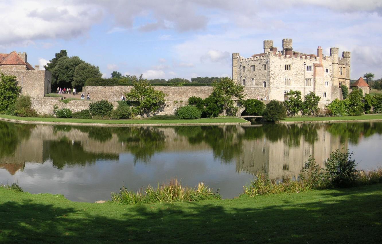Photo wallpaper landscape, lake, castle, England, panorama, UK, landscape, lake, England, Great Britain, Leeds, Leeds Castle, Leeds