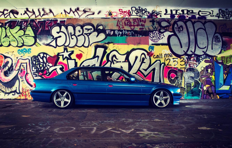Photo wallpaper tuning, bmw, BMW, grafiti, side, e38, 750il, bimmer