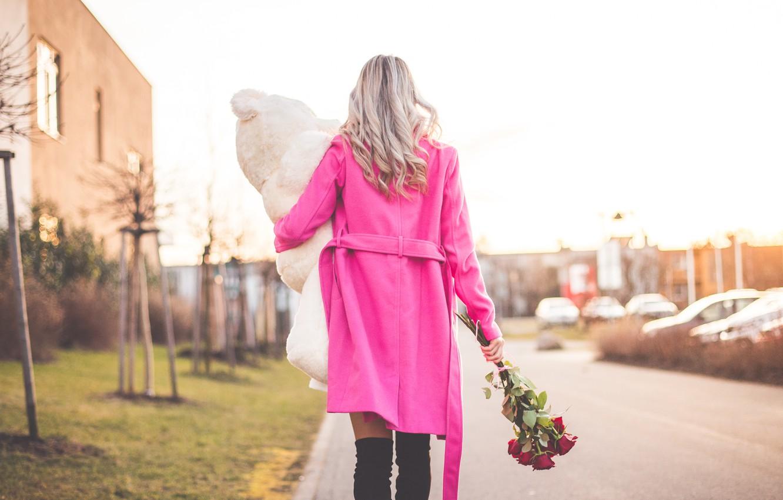 Photo wallpaper girl, flowers, gift, toy, roses, bear, pink, blonde, coat