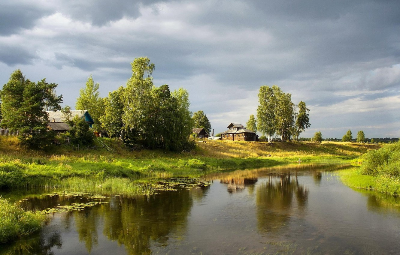 Photo wallpaper the sky, grass, trees, pond, shore, Village, houses, grey, the village