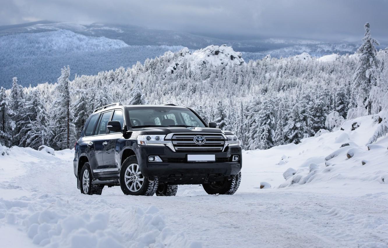 Photo wallpaper winter, snow, mountains, Toyota, Land, 200, Cruiser