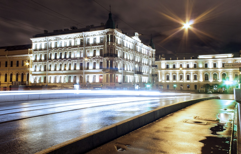 Photo wallpaper road, night, lights, street, Peter, lights, Saint Petersburg, night, Saint-Petersburg, Fontanka