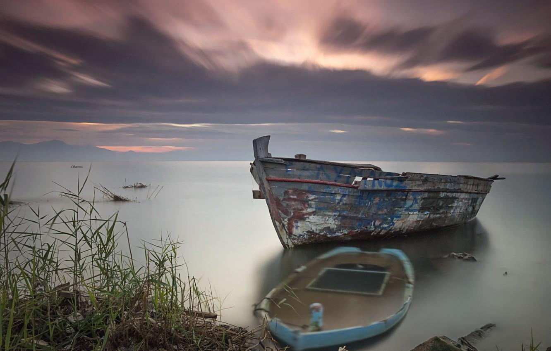Photo wallpaper sunset, lake, boats